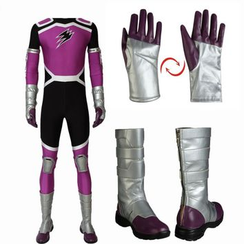Anime Juken Sentai Gekiranger Cosplay Fukami GOU Costume GEKI Violet Jumpsuit with Boots Full Set Halloween Outfit Custom Made
