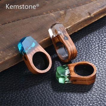 Kemstone Fashion Women Resin Wood Rings Magic Forest Wooden Ring Jewelry Handmade Undersea Blue Miniature World Inside Ring