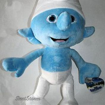 "Licensed cool 21"" JUMBO HUGE BIG THE SMURFS BLUE CLUMSY SMURF Plush Stuffed Toy Doll JAKKS NWT"