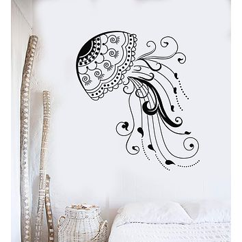 Vinyl Wall Decal Jellyfish Sea Animal Beach Style Marine Art Stickers Unique Gift (ig4119)