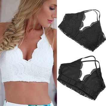 Summer Sexy Crochet Hollow Out Women Sleeveless Deep V-Neck Lace Camisole Casual Crop Top Knitted Tank Top Beach Bra Top