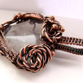 Copper Wire Wrapped pendant FREE SHIPPING, quartz.