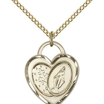 14K Gold Filled Our Lady Grace Miraculous Virgin Mary Heart Medal Necklace  617759999280