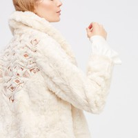 Free People Embroidered Cascade Fur Jacket