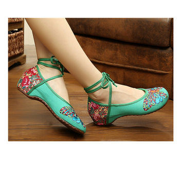 Vintage Chinese Embroidered Floral Shoes Women Ballerina Mary Jane Flat Ballet Cotton Loafer Green