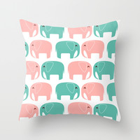 Elefantes errantes de amor Throw Pillow by Anny Cecilia Walter