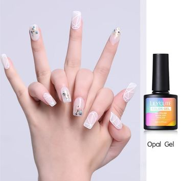 LILYCUTE Nude Opal Jelly Gel Polish Natural Pink Jelly UV Nail Gel Soak Off Lacquer Gel Nail Art Varnish Manicure Top Base Coat
