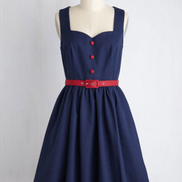 Mid-length Sleeveless Fit & Flare Biking through Brussels Dress in Navy