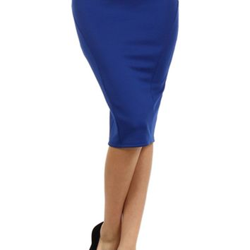 Women Solid High Waist Belted Knit Pencil Straight Stretch Knee Length Skirt