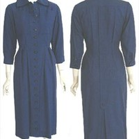 Exquisite Vintage 40s Blue Halvor McGrath Dress