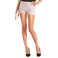 High Waisted Chevron Stripe Sequin Short: Charlotte Russe