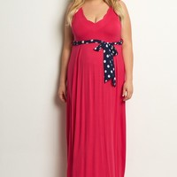 Fuchsia-Polka-Dot-Sash-Tie-Plus-Size-Dress