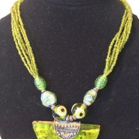Indian Jewelry- Five Strands Olive Green Beads Beaded Necklace