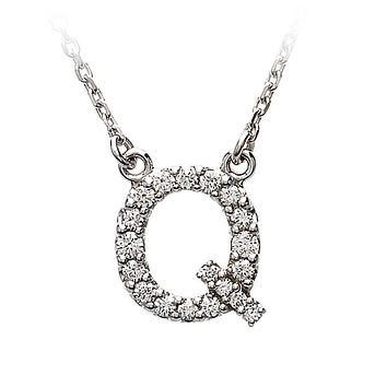 1/6 Cttw G-H, I1 Diamond initial Necklace in 14k White Gold, Letter Q
