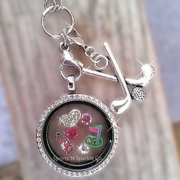 Golf Floating Keepsake Glass Living Locket