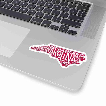 North Carolina State Shape Sticker Decal - Red