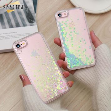 KISSCASE Cute Shiny Case For iPhone 6 6s 7 Plus 5 5s SE Quicksand Bling Sequin Phone Cover For iPhone 6 6s 7 8 Plus 5 5S Capa