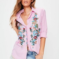 Missguided - Pink Stripe Floral Embroidered Shirt