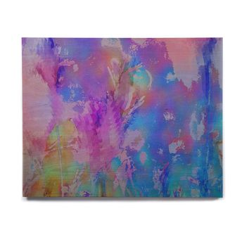 "Malia Shields ""Painterly Foliage Series 3"" Pink Blue Birchwood Wall Art"