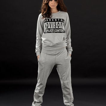 Gray sporty set / Tracksuit / Decorative details / Sport set / Cotton women tracksuit