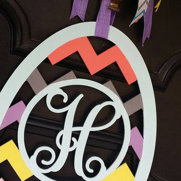 Easter Egg Monogram Spring Monogram Front Door Hanger Easter Egg Decor Chevron Easter Egg Spring Door Hanger Easter Monogram Chevron Egg