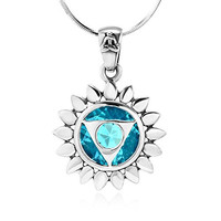 925 Sterling Silver Blue Glass Vishuddha Throat Chakra Healing Pendant Necklace, 18 inches