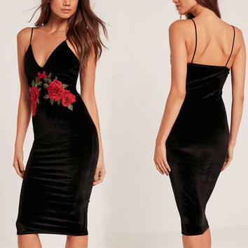 Embroidery flower velvet black sexy dress