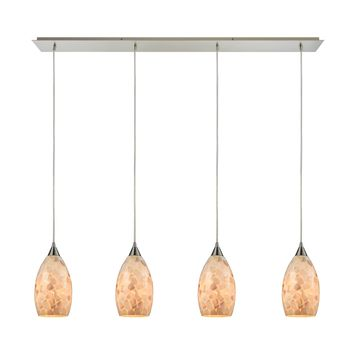 10443/4LP Capri 4 Light Pendant In Satin Nickel And Capiz Shell - Free Shipping!