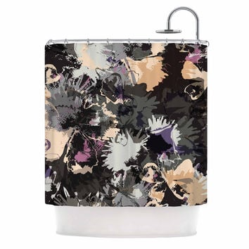 "Jessica Wilde ""Punk Floral"" Black Purple Shower Curtain"