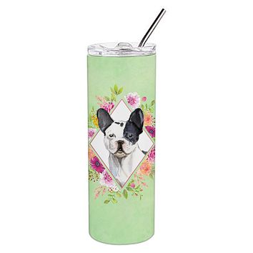 Black and White Frenchie Green Flowers Double Walled Stainless Steel 20 oz Skinny Tumbler CK4420TBL20