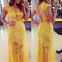 Yellow Floral Lace Sleeveless Backless Maxi Dress
