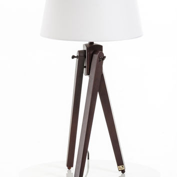 Modrest Della White and Wood Table Lamp
