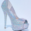 Custom Crystal AB Strass Open Toe High Heel Platform Pumps Womens Shoes
