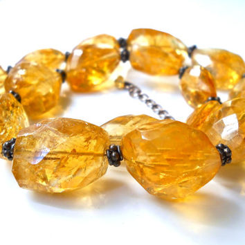Natural Free Form Citrine Sterling Silver Necklace, Graduated Strand, Faceted Vintage Beads