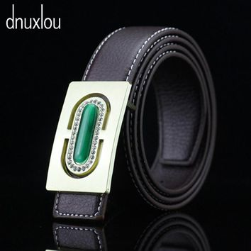 2017 New Designer Brand New Luxury Stone Belts Men Women Alloy Smooth Buckle Waist Strap Faux Leather Male Belt Free Shipping