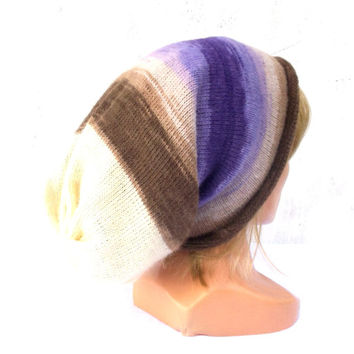 Knitted women hat, knitting colorful autumn beanie, knit multicolor striped angora winter cap, purple brown white cloche handmade slouche