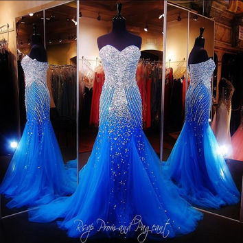 Royal Blue Mermaid Long Prom Dress For Pageant Women Sexy Sweetheart Vestido Longo Luxury Beaded Vestidos De Gala Tulle Gowns