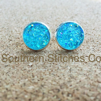 SALE Ice Blue Earrings Druzy Stud Earrings 12MM Boho Jewelry Bridesmaids Gifts