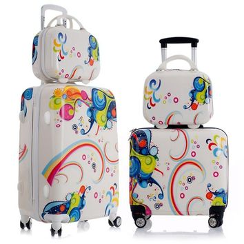 Lovely 1PC Children's Suitcases Aluminum Alloy Pull Rod Rolling Luggage Sets Waterproof Child Suitcases and Travel Bags on Wheel