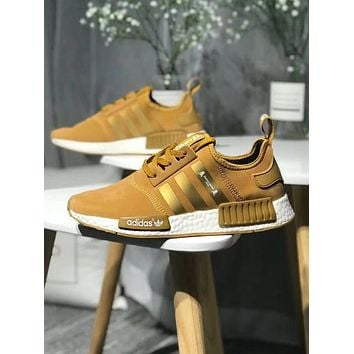 Adidas NMD X OFF-WHITE Fashion Women Men Personality Running Sports Shoes Sneakers Gold I-CQ-YDX