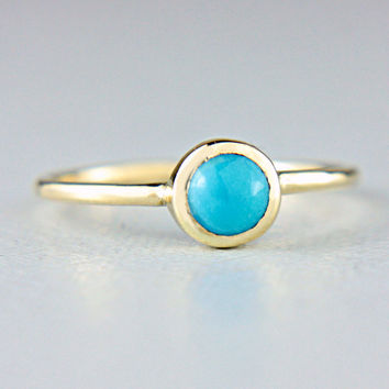 Turquoise Gold Ring 14k Turquoise Engagement Ring Arizona Turquoise Gold Ring Made in Your Size White Rose Yellow Gold Turquoise Ring