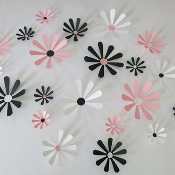 "Black, White & Pink Daisies Set, 21 big 3D wall decals, 2-4"" paper flowers, Princess bedroom art, Wedding decorations, bridal shower decor"