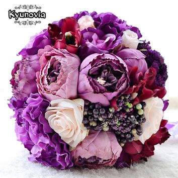 Kyunovia New Bridal Bouquet Assorted Roses Camellias wedding accessories bouquet Artifical Wedding flowers Wedding Bouquet FE13
