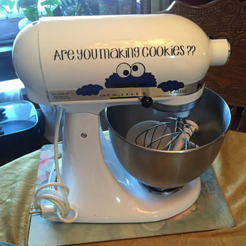 "KitchenAid Mixer Vinyl Decal - Sesame Street Cookie Monster 7"" inch - Select from 3 different sayings! Glitter Colors Available!"