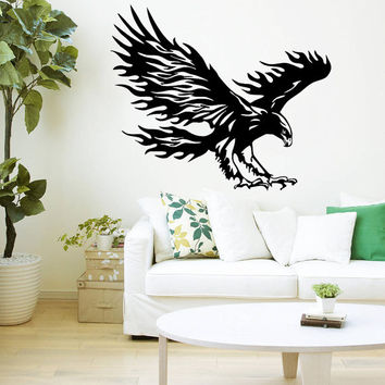 Wall Decal Vinyl Sticker Decals Art Home Decor Design Mural Bird of Prey Tribal Flaming Eagle Hawk Flying Wings Bedroom Bathroom Dorm AN94
