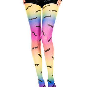 Spandex Sheer Ironic Mustache Pattern Pantyhose Hipster Indie Design Full Tights 3 Patterns Available Pink Rainbow Black