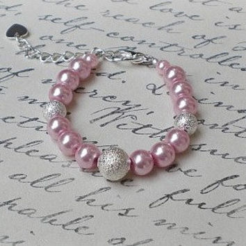 Baby Pink Pearl Bracelet-Newborn Jewelry-Infant Bracelet-Baby Shower Gift-New Baby