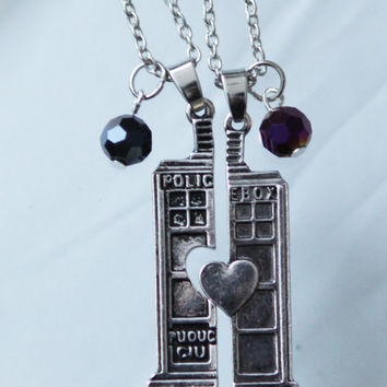 Dr Who Tardis Split Heart necklace set  Best Friends set necklace  Dr Who mail box necklace