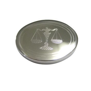 Silver Toned Etched Oval Scale of Justice Law Magnet
