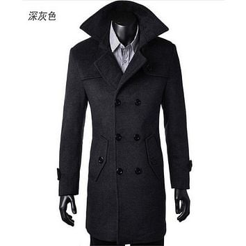 Winter Mens Cashmere Coat Long Wool Coat Men Double Breasted Trench Coat Mens Peacoat Coat Overcoats fashion 4XL